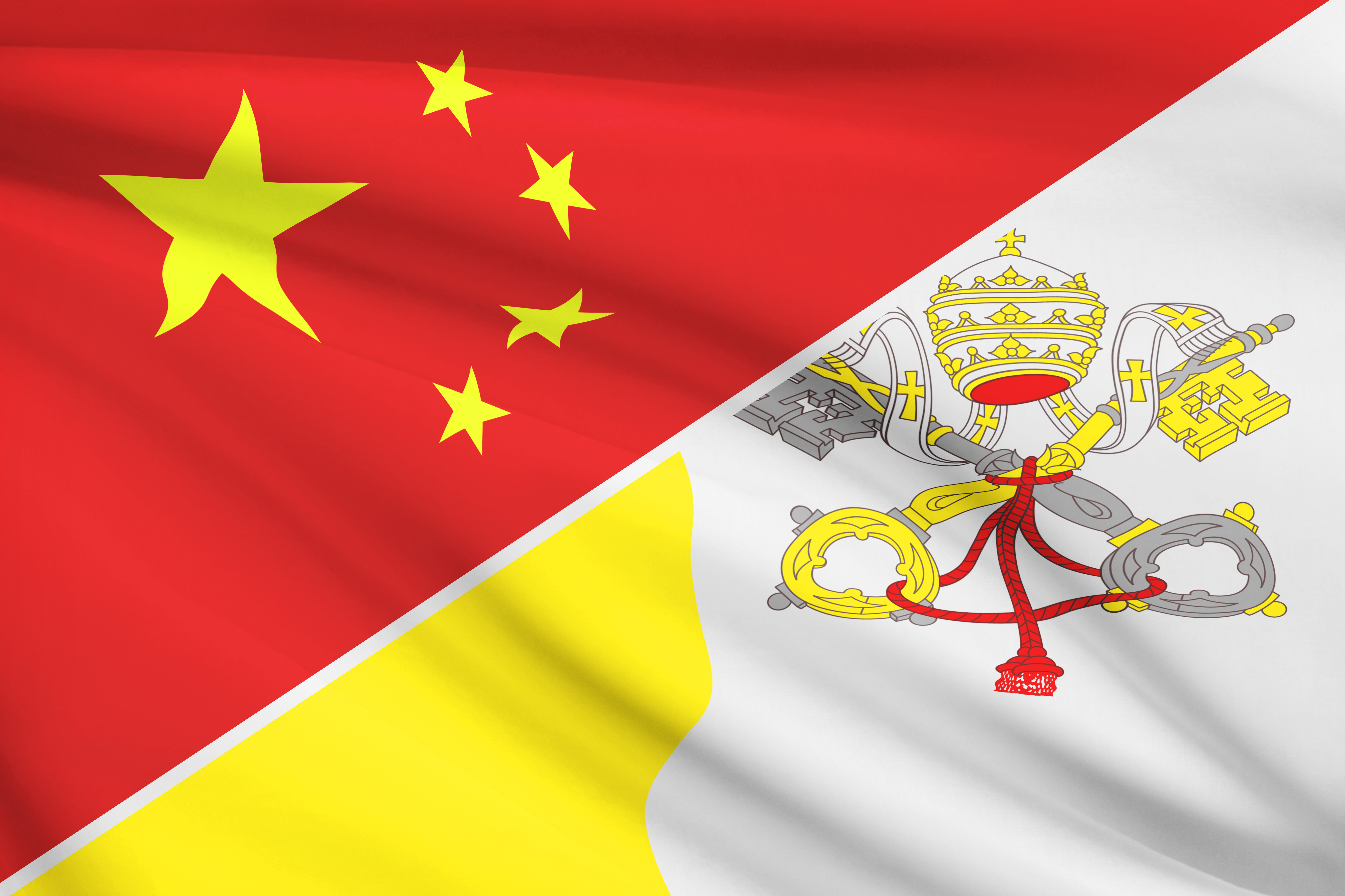 Series Of Ruffled Flags. China And Vatican City State